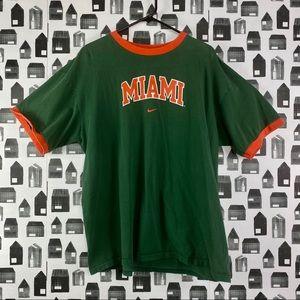 Nike | Miami Green Orange Lined Men's T-shirt XL